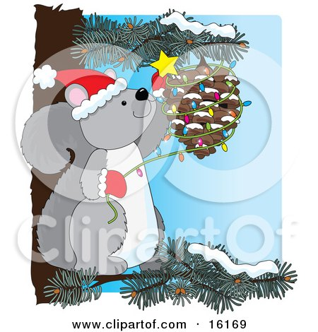 Cute Gray Squirrel Wearing A Santa Hat And Mittens, Sitting On A Pine Tree Branch And Decorating A Pinecone With Christmas Lights And A Star Clipart Illustration Image by Maria Bell