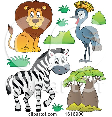 Clipart of a Lion Zebra and Grey Crowned Crane - Royalty Free Vector Illustration by visekart
