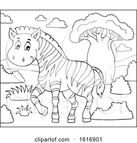 Clipart of a Zebra - Royalty Free Vector Illustration by visekart