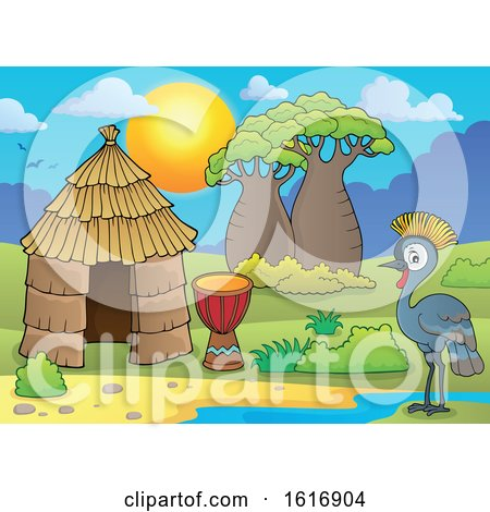 Clipart of a Grey Crowned Crane by a Drum and Hut - Royalty Free Vector Illustration by visekart