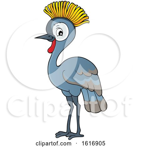 Clipart of a Grey Crowned Crane - Royalty Free Vector Illustration by visekart