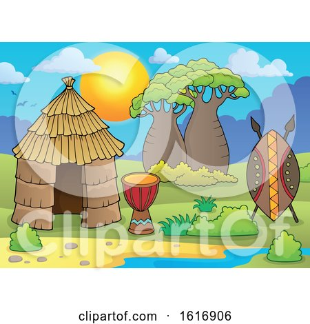 Clipart of a Tribal African Hut - Royalty Free Vector Illustration by visekart