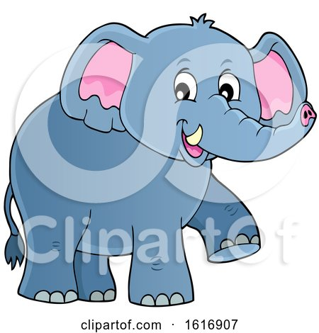 Clipart of a Happy Elephant - Royalty Free Vector Illustration by visekart