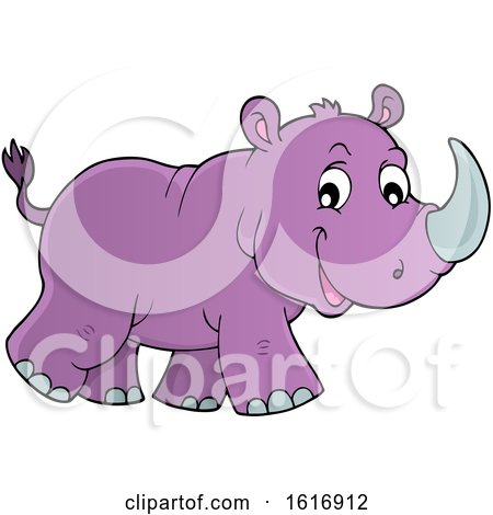 Clipart of a Walking Purple Rhino - Royalty Free Vector Illustration by visekart