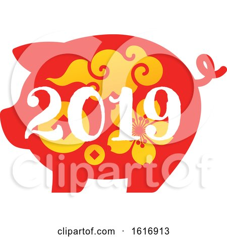 Clipart of a New Year 2019 Pig in Red with Yellow Flowers and Designs - Royalty Free Vector Illustration by elena