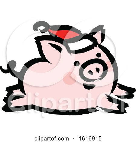 Clipart of a Running Christmas Pig Wearing a Santa Hat - Royalty Free Vector Illustration by elena