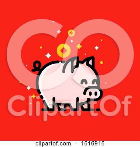 Clipart of a Pig with Asian Wealth Coins on Red - Royalty Free Vector Illustration by elena