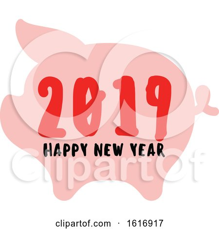 Clipart of a Happy New Year 2019 Pig - Royalty Free Vector Illustration by elena