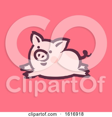 Clipart of a Running Pig on Pink - Royalty Free Vector Illustration by elena