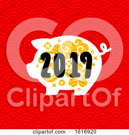Clipart of a New Year 2019 Pig on Red - Royalty Free Vector Illustration by elena