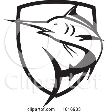 Blue Marlin Jumping Crest Black and White by patrimonio