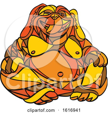 Laughing Buddha Dog Mosaic Color by patrimonio