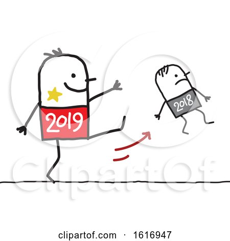 Clipart of a Stick Man 2019 Kicking Away Year 2018 - Royalty Free Vector Illustration by NL shop