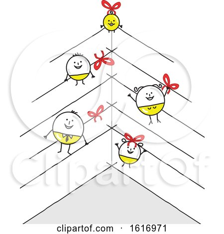 Clipart of a Stick Family As Christmas Baubles - Royalty Free Vector Illustration by NL shop