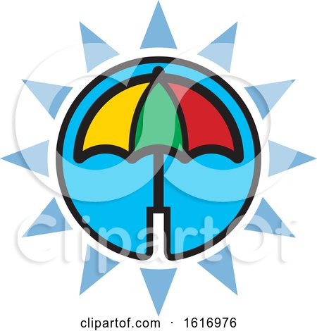 Clipart of a Colorful Umbrella and Blue Sun Icon - Royalty Free Vector Illustration by Lal Perera
