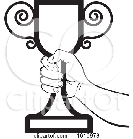 Clipart of a Black And White Hand Holding a Trophy Cup - Royalty Free Vector Illustration by Lal Perera