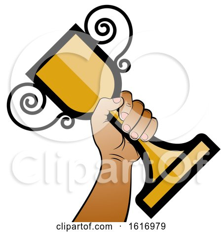 Clipart of a Hand Holding a Trophy Cup - Royalty Free Vector Illustration by Lal Perera