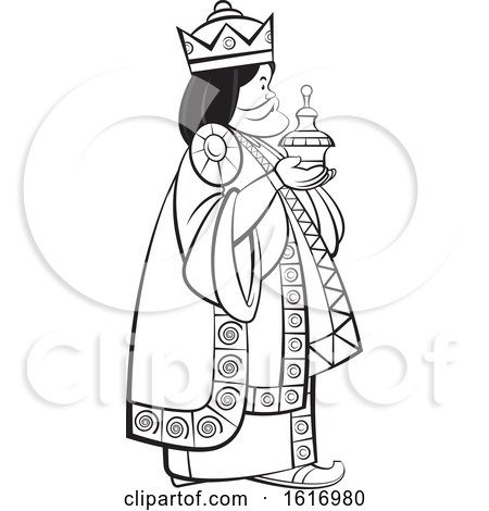 Clipart of a Grayscale Wise Man Holding a Gift - Royalty Free Vector Illustration by Lal Perera