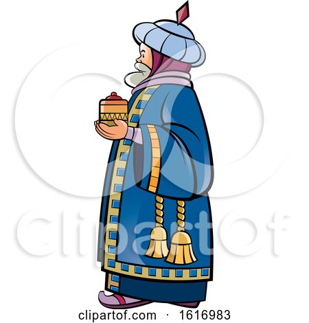 Clipart of a Wise Man Holding a Gift - Royalty Free Vector Illustration by Lal Perera