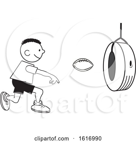 Clipart of a Black Boy Throwing a Football Through a Tire on Field Day - Royalty Free Vector Illustration by Johnny Sajem