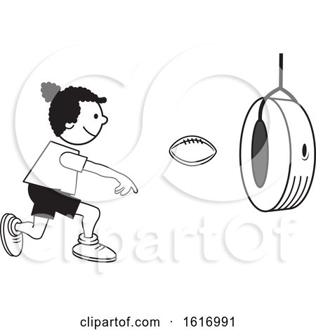 Clipart of a Black Girl Throwing a Football Through a Tire on Field Day - Royalty Free Vector Illustration by Johnny Sajem