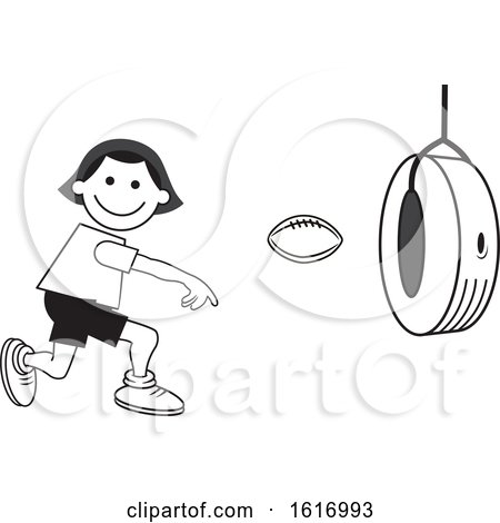 Clipart of a Boy Throwing a Football Through a Tire on Field Day - Royalty Free Vector Illustration by Johnny Sajem