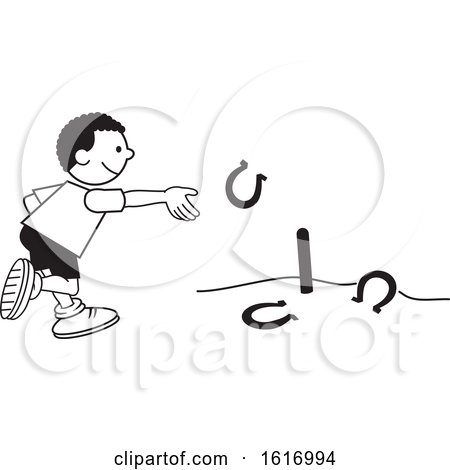 Clipart of a Black Boy Throwing Horse Shoes - Royalty Free Vector Illustration by Johnny Sajem