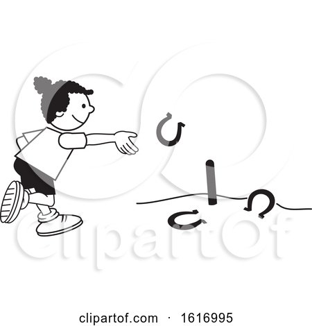 Clipart of a Black Girl Throwing Horse Shoes - Royalty Free Vector Illustration by Johnny Sajem