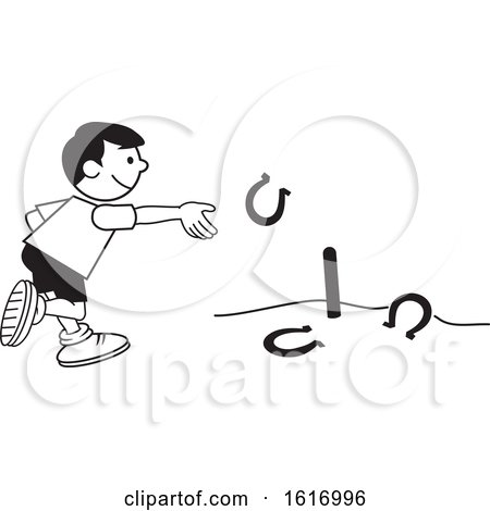 Clipart of a Boy Throwing Horse Shoes - Royalty Free Vector Illustration by Johnny Sajem