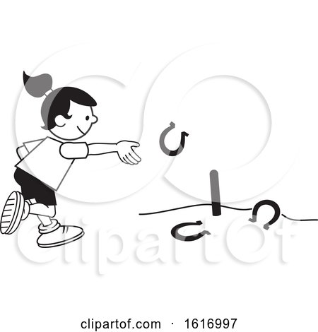 Clipart of a Girl Throwing Horse Shoes - Royalty Free Vector Illustration by Johnny Sajem