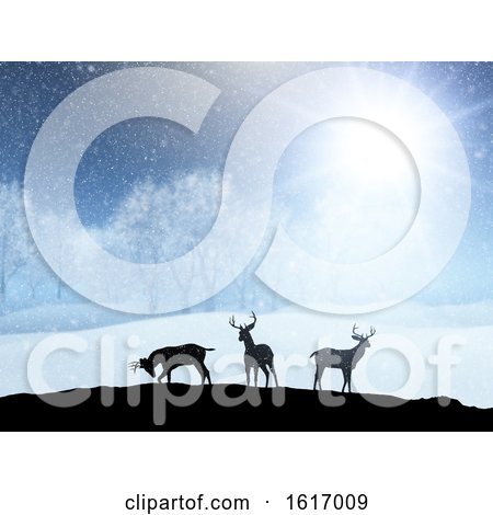 3D Winter Snow Landscape with Silhouettes of Deer by KJ Pargeter