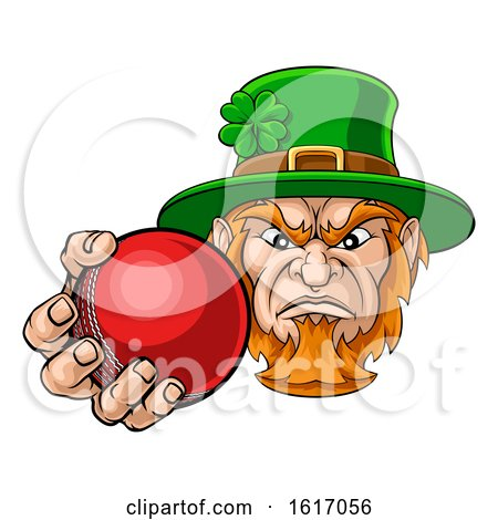Leprechaun Holding Cricket Ball Sports Mascot by AtStockIllustration