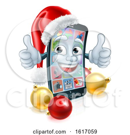 Christmas Cartoon Mobile Cell Phone in Santa Hat by AtStockIllustration