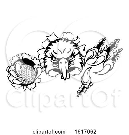 Eagle Golf Cartoon Mascot Tearing Background by AtStockIllustration
