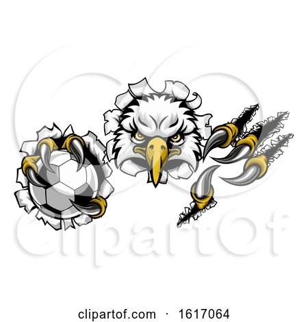 Eagle Soccer Cartoon Mascot Ripping Background by AtStockIllustration