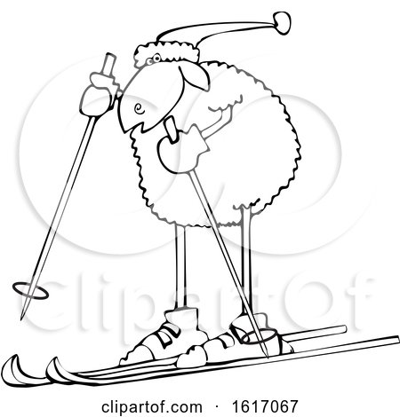 Clipart of a Cartoon Lineart Sheep Skiing - Royalty Free Vector Illustration by djart