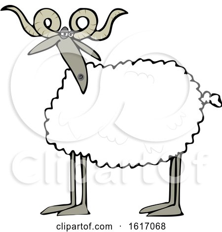 Clipart of a Cartoon Sheep with Curly Horns - Royalty Free Vector Illustration by djart