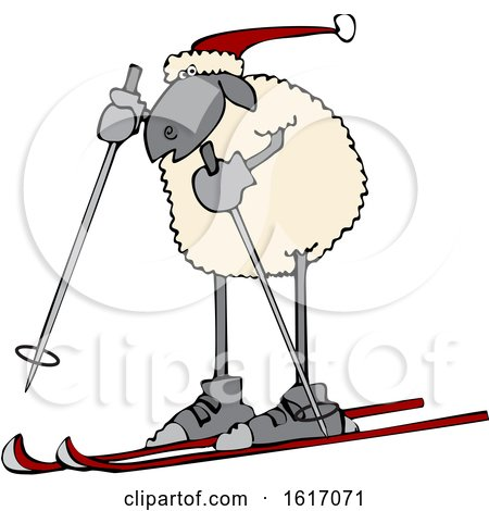 Clipart of a Cartoon Sheep Skiing - Royalty Free Vector Illustration by djart