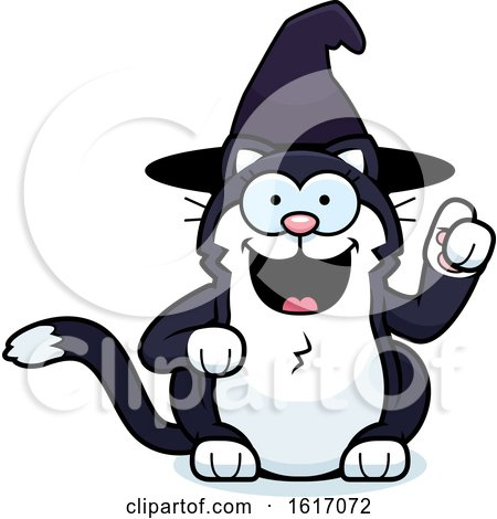 Clipart of a Cartoon Witch Cat with an Idea - Royalty Free Vector Illustration by Cory Thoman