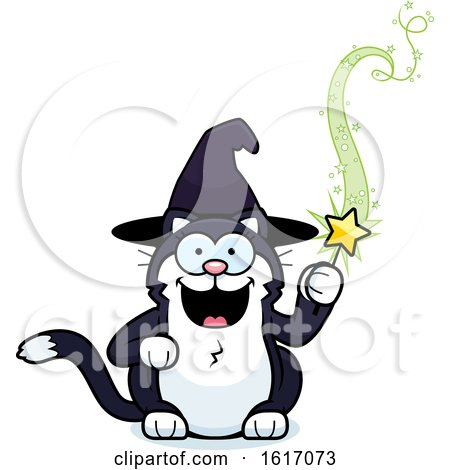 Clipart of a Cartoon Witch Cat Holding a Magic Wand - Royalty Free Vector Illustration by Cory Thoman
