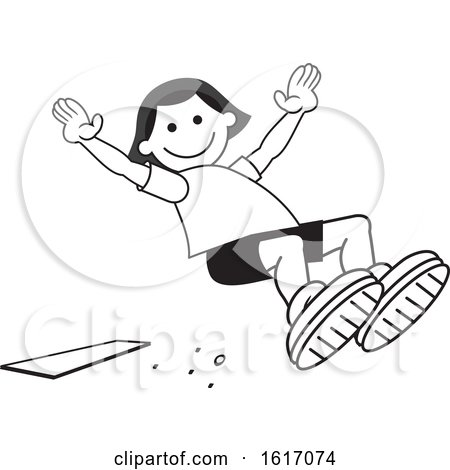 Clipart of a Girl Doing a Field Day Sports Long Jump - Royalty Free Vector Illustration by Johnny Sajem