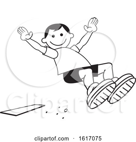 Clipart of a Boy Doing a Field Day Sports Long Jump - Royalty Free Vector Illustration by Johnny Sajem
