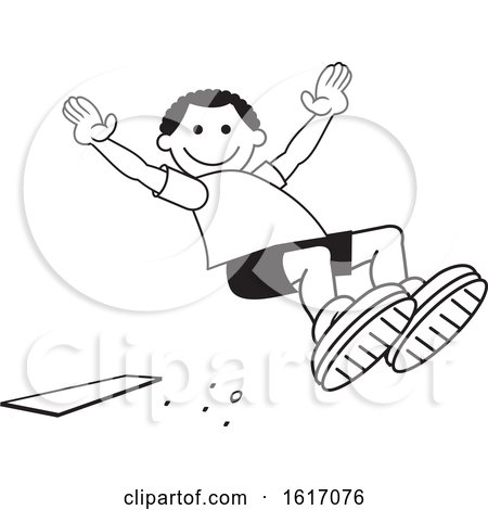 Clipart of a Black Boy Doing a Field Day Sports Long Jump - Royalty Free Vector Illustration by Johnny Sajem