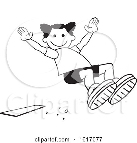 Clipart of a Black Girl Doing a Field Day Sports Long Jump - Royalty Free Vector Illustration by Johnny Sajem