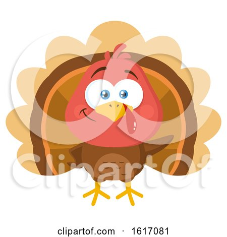 Clipart of a Cute Little Turkey Bird - Royalty Free Vector Illustration by Hit Toon