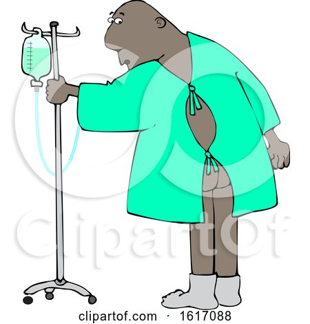 Clipart of a Cartoon Black Man Wearing a Hospital Gown and Realizing His Butt Is Showing - Royalty Free Vector Illustration by djart