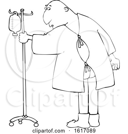 Clipart of a Cartoon Lineart Man Wearing a Hospital Gown and Realizing His Butt Is Showing - Royalty Free Vector Illustration by djart