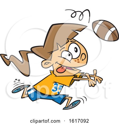 Clipart of a Cartoon White Girl Catching a Football - Royalty Free Vector Illustration by toonaday