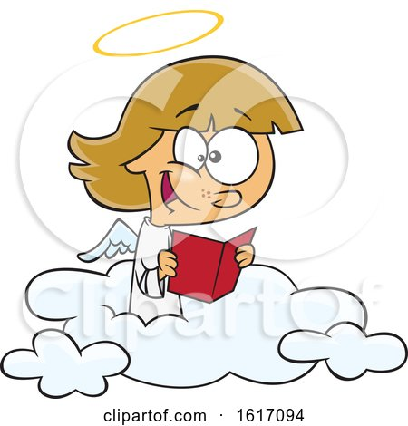 Clipart of a Cartoon Happy Angel Girl Reading on a Cloud - Royalty Free Vector Illustration by toonaday