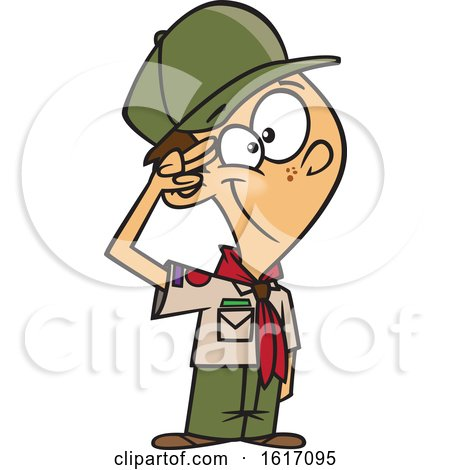 Clipart of a Cartoon White Scout Boy Saluting - Royalty Free Vector Illustration by toonaday